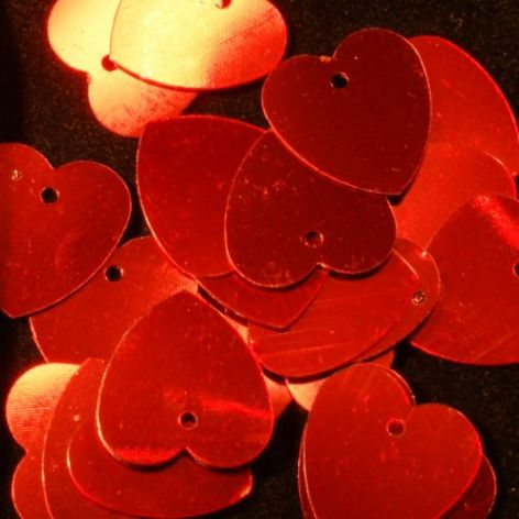 DISCONTINUED 10mm Metallic Red Valentine Heart Sequins.x 3g